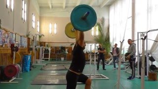 #weightlifting Моя тренировка (Рывок и толчок с виса в сед, толчок со стоек)
