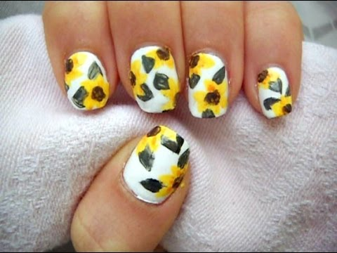 American Apparel Sunflower Nail Art ! - American Apparel Sunflower Nail Art ! - YouTube