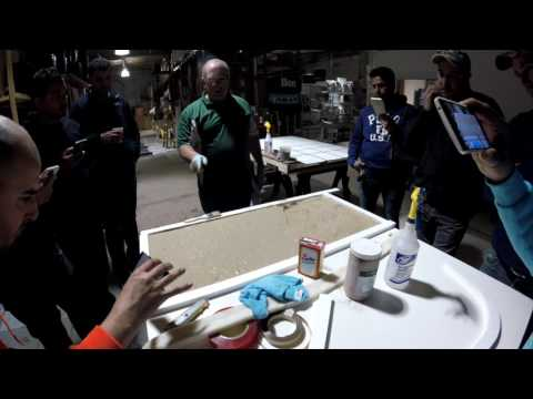 Concrete Countertop Casting. GlobMarble Decorative Concrete Training April 2017.