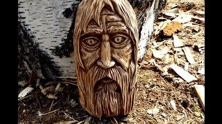 Скачать Woodcarving Face Of Old Man Резьба по дереву панно маска лицо человека