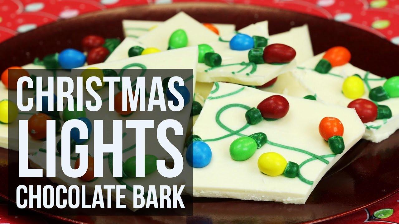 Christmas Bark.Christmas Lights Chocolate Bark
