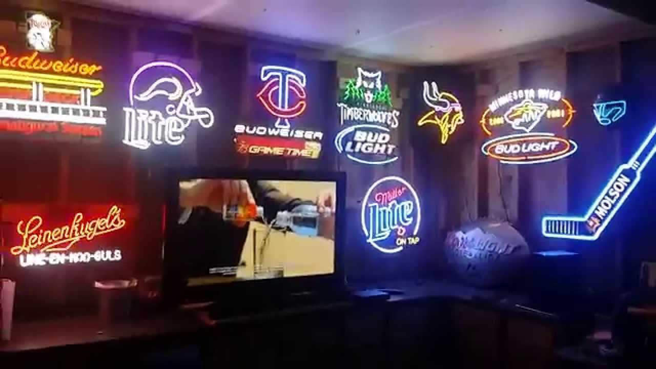 Man Cave Neon Light Signs : Man cave neon beer sign collection youtube