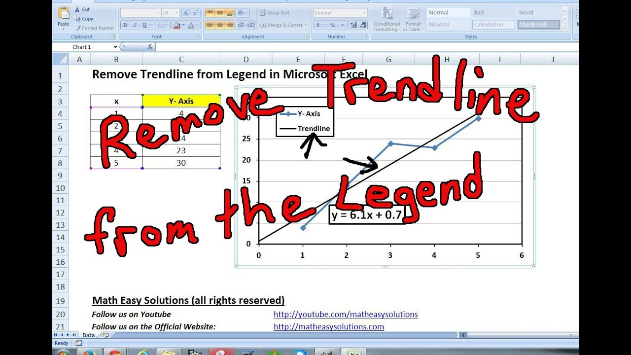 Remove Trendline From The Legend In Microsoft Excel Youtube