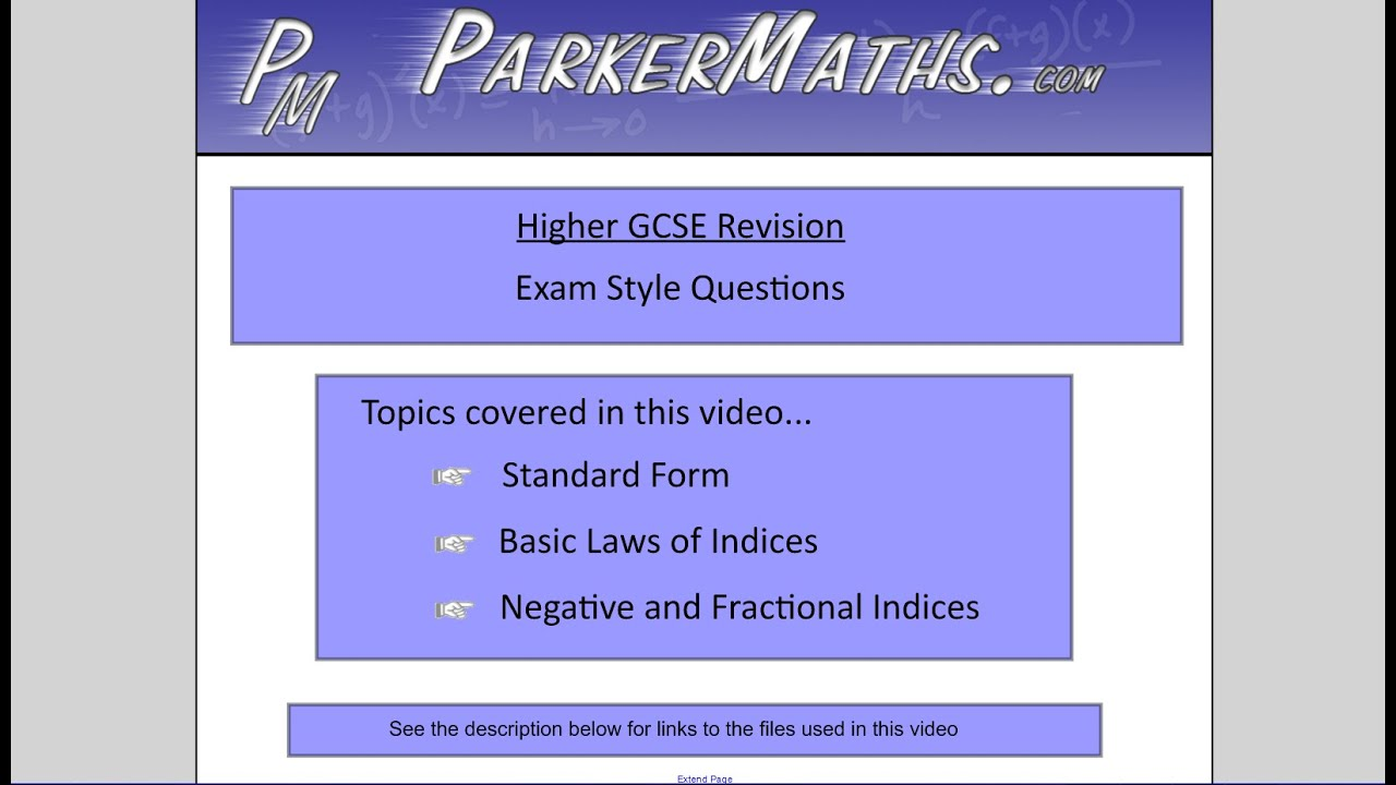 Indices and standard form higher gcse exam style questions indices and standard form higher gcse exam style questions youtube falaconquin