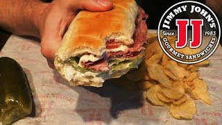 asmr eating jimmy john s italian sub w chips pickle no talking