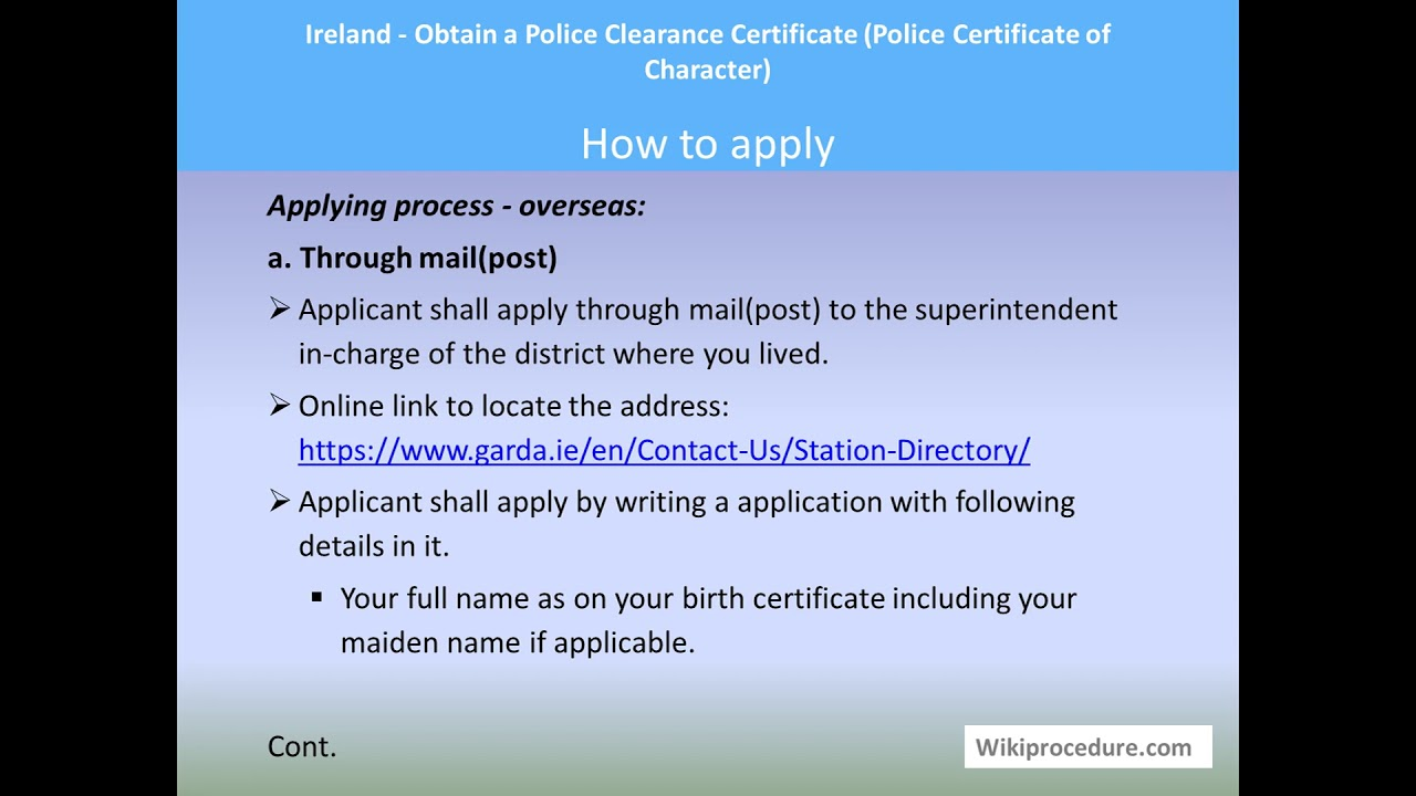 Ireland - Obtain a Police Clearance Certificate (Police