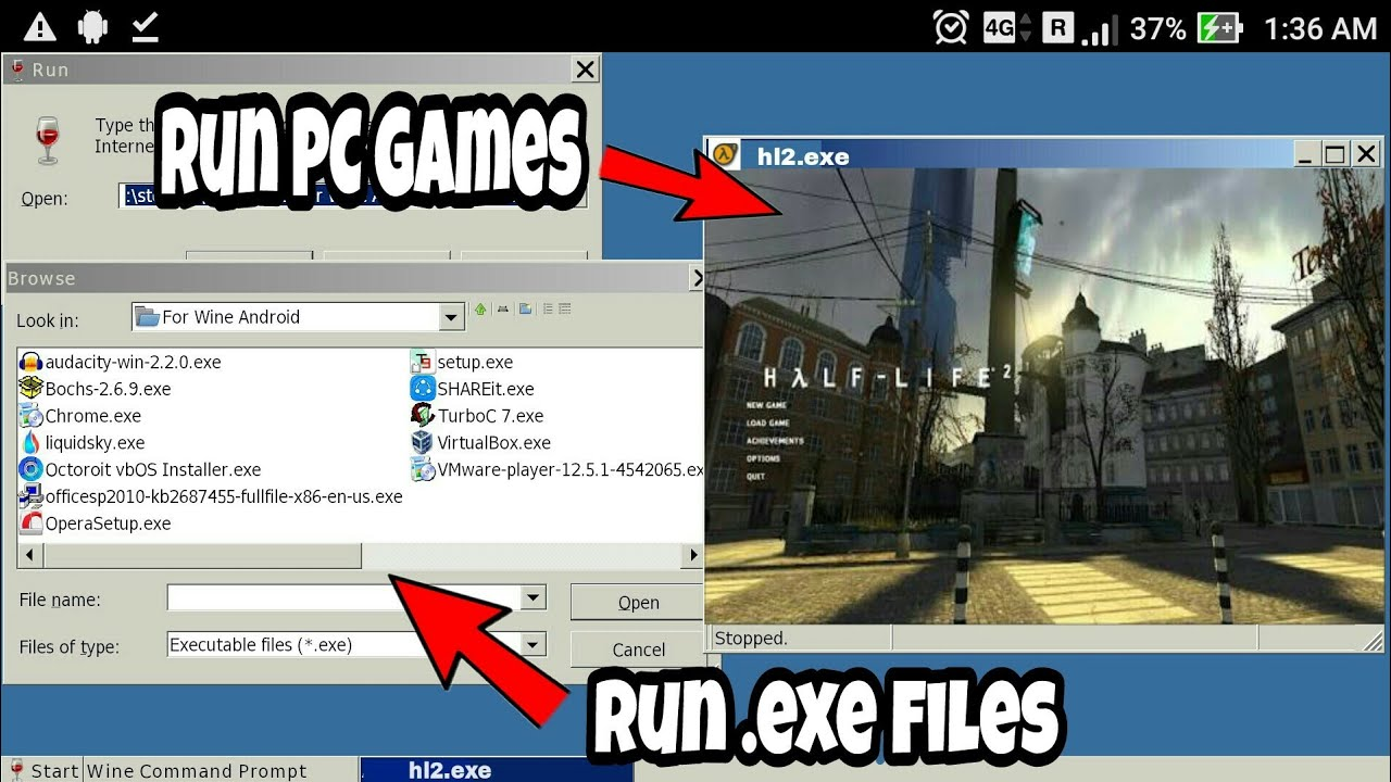 How to Run PC Games/Software on Any Android Phone  !![Run  EXE File]
