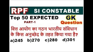 GK Expected question for Rpf si and Rpf constable exam 2018 in hindi,general awareness 2018 for rpf
