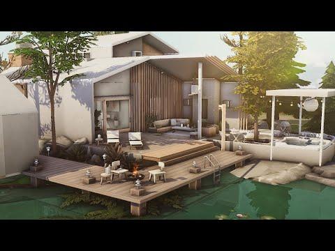 Scandinavian Lake  House (No CC) | Stop Motion Build | Sims 4