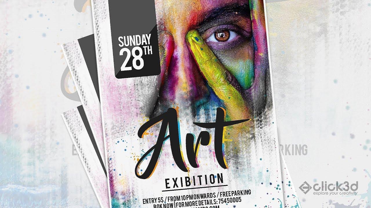 art exibition poster design tutorial photoshop tutorial click3d