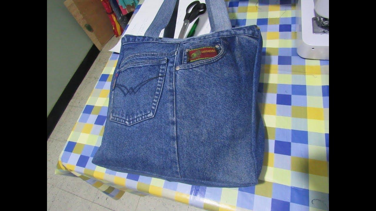 054a09604 Reciclaje de Jeans: Bolso Viajero (Molde en Descripción) - YouTube