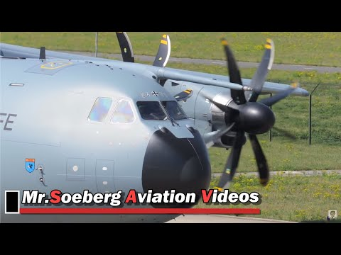 Very Nice ENGINE STARTUP and DEPARTURE,  A400M, 54-01,  German AF