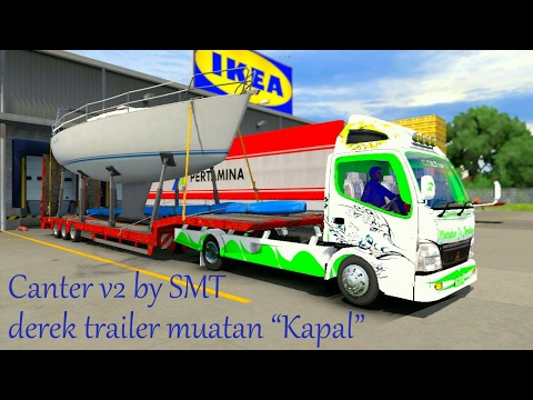 ETS2 -- Canter 125 ps Bawa Trailer Muatan Kapal - 동영상