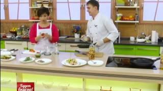 Будет вкусно! 26/11/2013 Стейк из семги с овощами, салат с маринованной креветкой. GuberniaTV