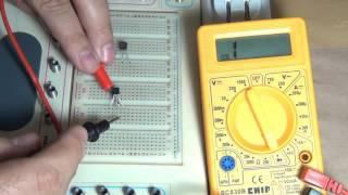 064 Testando transistor com multímetro digital