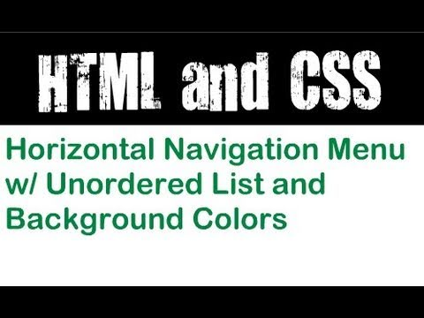 Horizontal Navigation Menu With Unordered List And Background Colors
