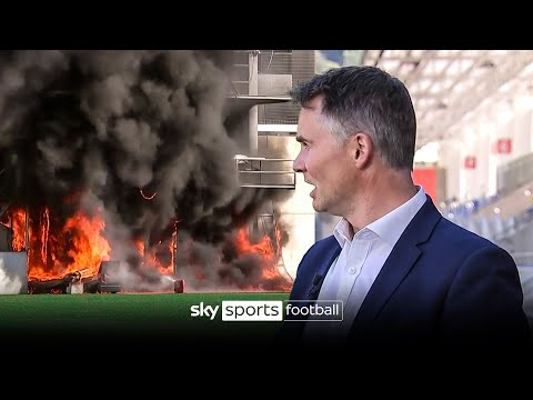 Fire breaks out during LIVE report at stadium due to host Andorra vs England 🔥🤯