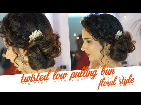 Twisted Low Pulling Bun -Floral Style |Beautiful & Easy Party Hairstyle