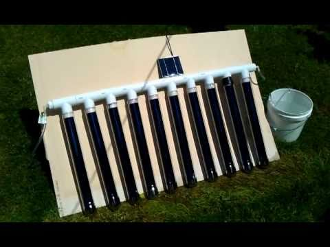 Diy Solar Vacuum Tube Water Heater Manifold Youtube