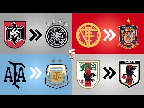32 National Football Team Shirt Badge Evolution ⚽ FIFA World Cup 2018 ⚽ Footchampion