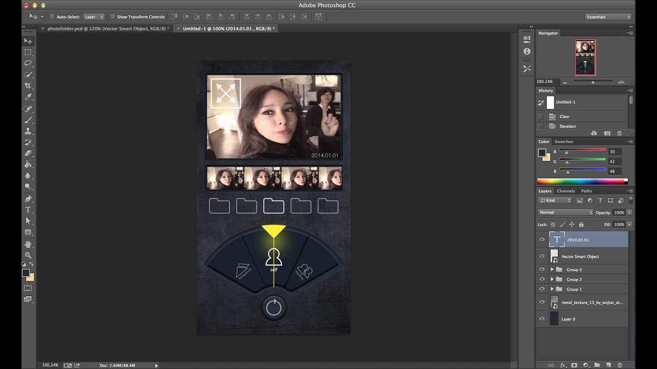 App page design tutorial-GUI-photo folder // illustrator photoshop