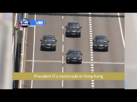 President Xi's motorcade in Hong Kong