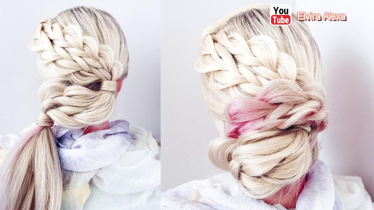 Летняя причёска из кос. Как сделать пучок из кос.
