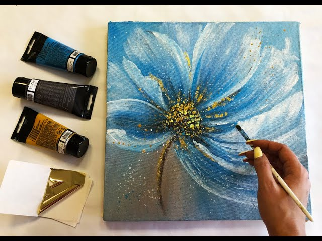 How to make Abstract Flower Painting with gold leaf Acrylic Easy Techniques by Julia Kotenko