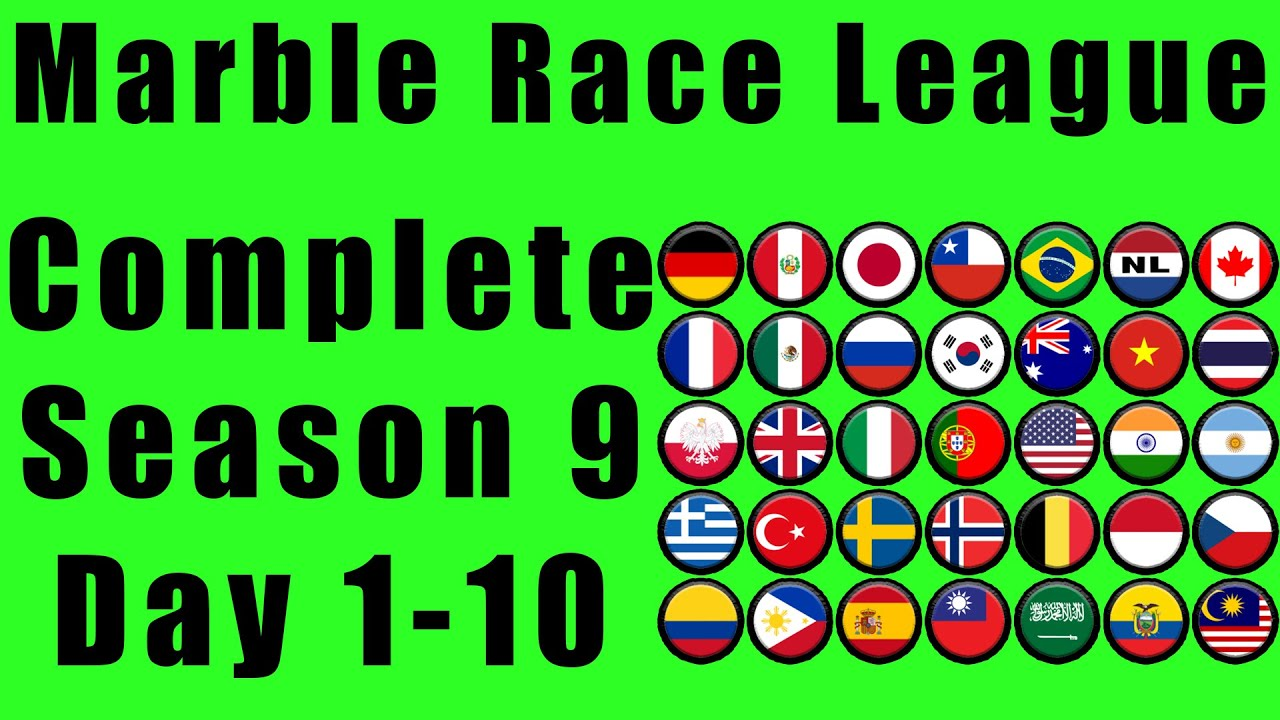 Marble Race League 2020 Season 9 Complete Race Day 1-10 in Algodoo / Marble Race King
