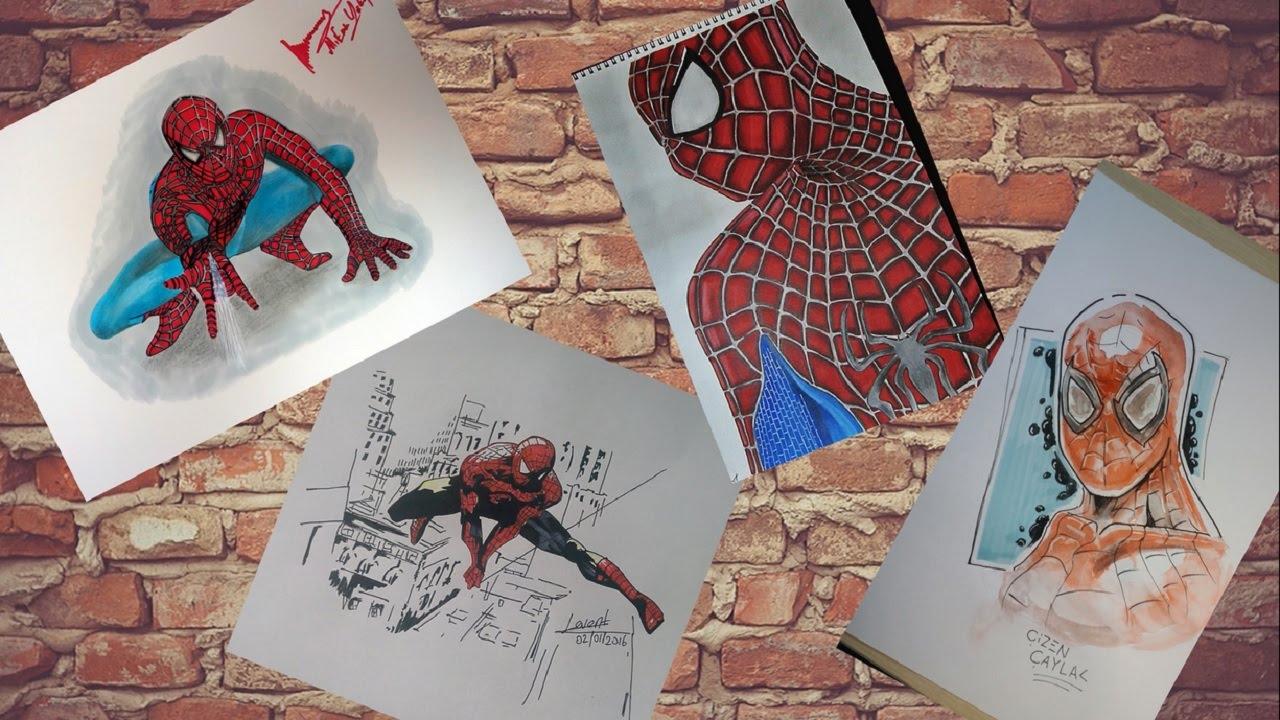 Süper Kahraman çizimi 6 Spiderman 4 çizim Kanali Bir Arada