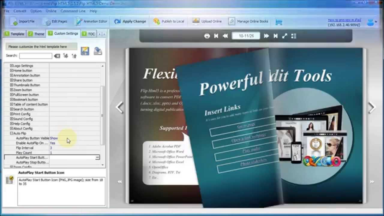 best software to make an auto flipping html5 e book from a pdf file