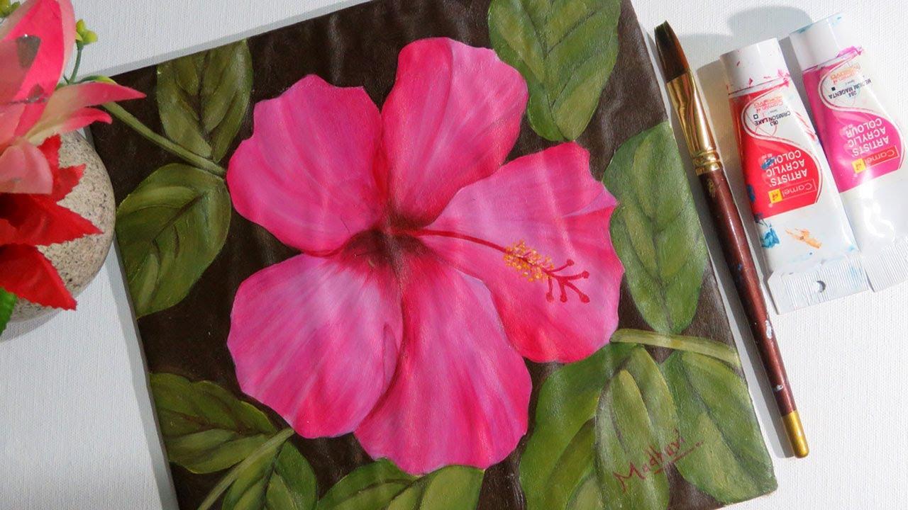 SIMPLE ACRYLIC PAINTING OF FLOWER /HIBISCUS FLOWER /FLOWER ...