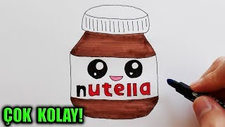 Sevimli Nutella Çizimi - KAWAİİ NUTELLA - How to Draw a Cute Nutella Easy For Kids