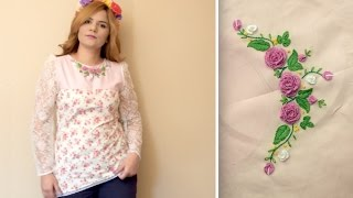 Brazilian Embroidery on Neckline.Do  Cast on stitch by hand. 3D Rose flower.
