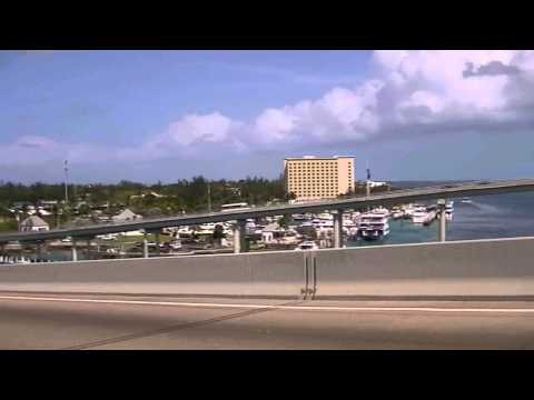Crossing the bridge over to Paradise Island from Nassau, the Bahamas (HD)