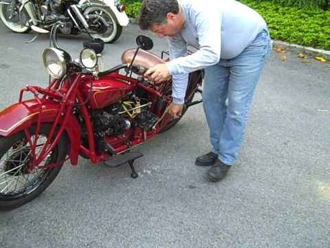 Buzz Kanter hand starting Indian Four motorcycle http://www caimag com