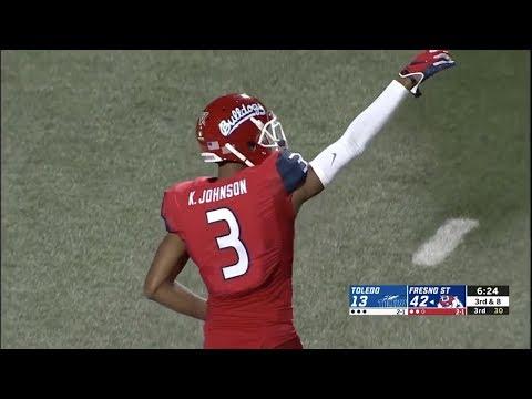 best website 777a9 f41ce KeeSean Johnson (Fresno State WR #3) Vs. Toledo 2018 - YouTube