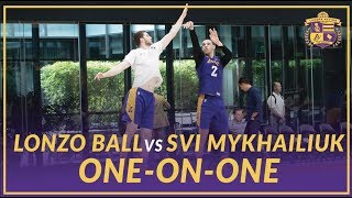 Lakers Practice: Lonzo Ball and Svi Mykhailiuk Play One-On-One After Practice