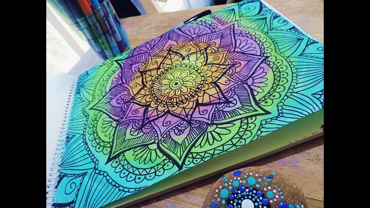 Speed Drawing: Mandala Painting - ZentangleArtbyEM - YouTube