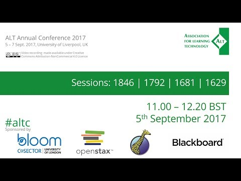 #altc Sessions: 1846 | 1792 | 1681 | 1629 - ALT Annual Conference 2017