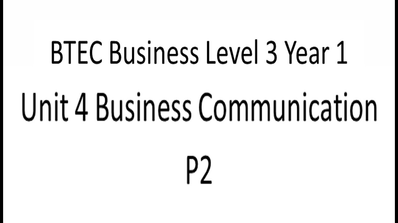 unit 4 business communication p2 Unit 4 d1 level 3 business in this assignment im going to evaluate the approraiteness of two sets of business information used by bbc to make strategic decisions, and how it helps the bbc to make strategic decisions about how to improve their operations.