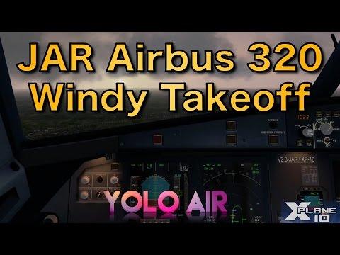 Windy takeoff (14 kts crosswind) from Dublin/EIDW | A320 | X-Plane 10