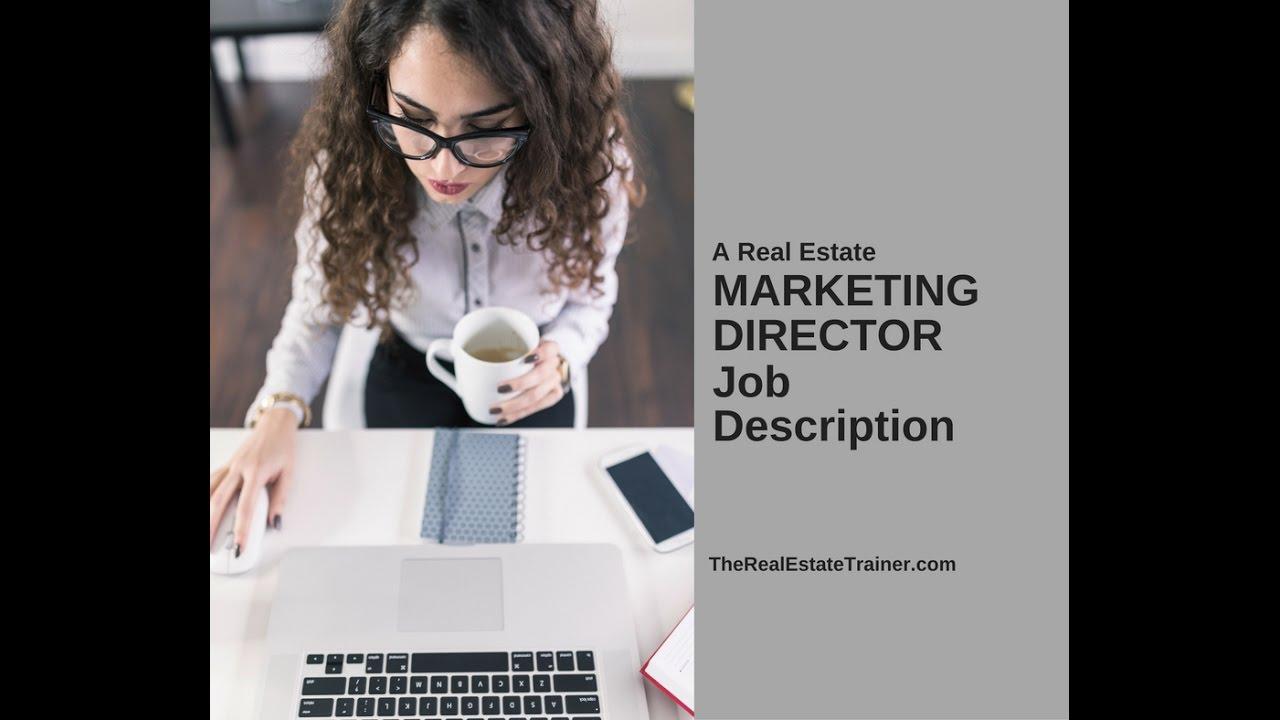 Director Of Marketing Job Description | Real Estate Marketing Director Job Description Youtube
