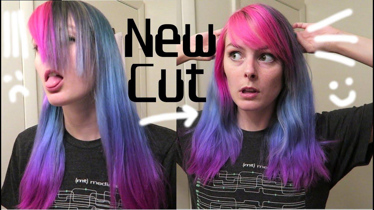 Long Hair Styles With Side Bangs: Cutting My Hair- Shorter Side Bangs & Long Layers Haircut