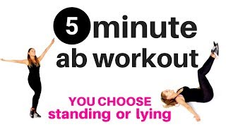 5 MINUTE AB WORKOUT FOR WOMEN - Home fitness exercise routine to tone your abs & sculpt your waist