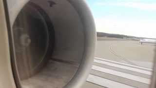 Delta Airlines MD-90 takeoff from Atlanta (cabin view)