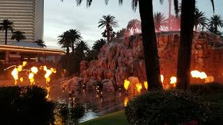 Volcano eruption outside of the mirage in Las Vegas