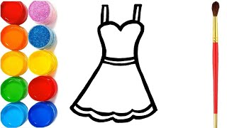 4 Glitter Fashion Dress Coloring and Drawing For Girls Learn Colors for Kids | Eva Bloksy