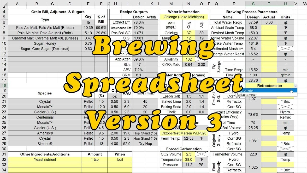 Brewing Spreadsheet Version 3: Overview, Recap, & Deep Dive All-In-One Video