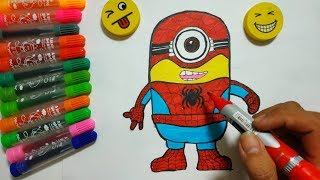 How to Draw Minion Minion Spiderman step by step easy | Colors For Kids Learning